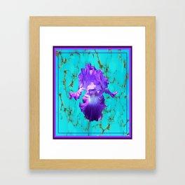 Amethyst Purple Iris Flower on Turquoise Stone Design Framed Art Print