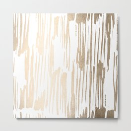 White Gold Sands Thin Bamboo Stripes Metal Print