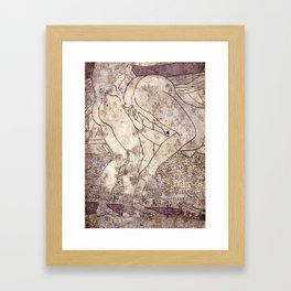 Nude couple. Inner casing of mirror from Corinth -320 BC Framed Art Print
