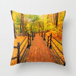 Wooden boardwalk Throw Pillow