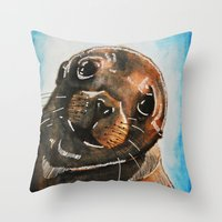 seal Throw Pillows featuring Seal by tsquared91