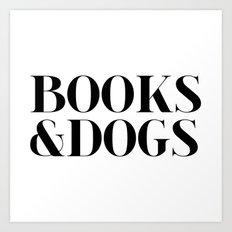 Books&Dogs - Black and White Art Print