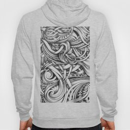 Escher Like Abstract Hand Drawn Graphite Gray Depth Hoody