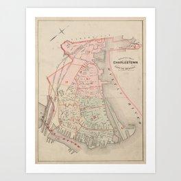 Vintage Map of Charlestown MA (1885) Art Print