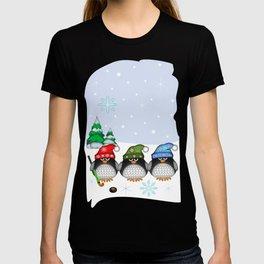 Cute Hockey Penguins in Snowy Winter landscape T-shirt