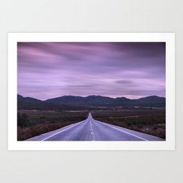 """At the end of the road"" Purple sunset Art Print"