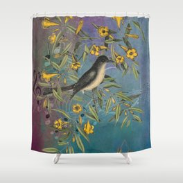 Flycatcher with Carolina Jasmine, Vintage Natural History and Botanical Shower Curtain