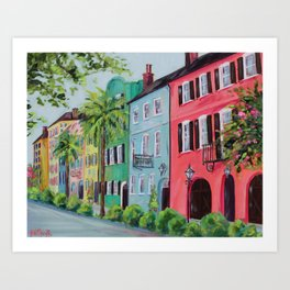 Rainbow Row, Charleston Art Print