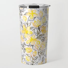 Sunny Yellow Crayon Striped Summer Floral Travel Mug