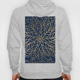 Modern chic navy blue faux gold floral mandala Hoody