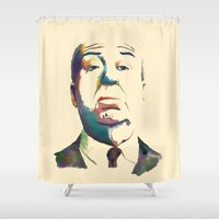 hitchcock Shower Curtains featuring Hitchcock by totemxtotem