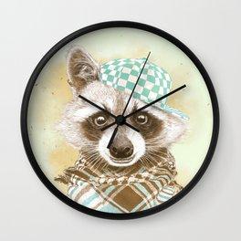 Rocco Raccoon - earth tones Wall Clock