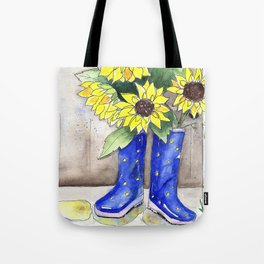 Sunflowers in Rain Boots Tote Bag