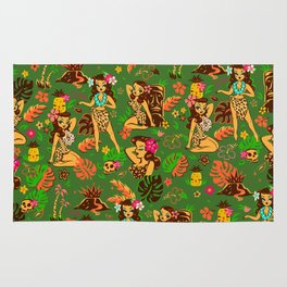 Tiki Temptress on Green Rug
