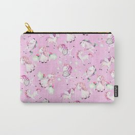 Cute Girly Pink Unicorn Rainbow Watercolor Carry-All Pouch