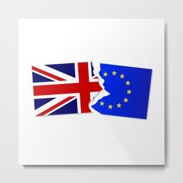 EU and Great Britain Flags Metal Print