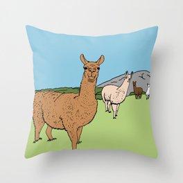 Llama-rama Throw Pillow