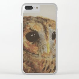 Watercolor Tawny Owl Painting Clear iPhone Case