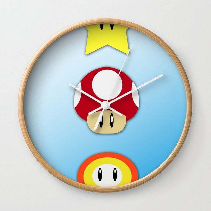 Super Mario Bros Star Mushroom And Flower Wall Clock By Jagraphic Society6
