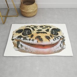 Leopard Gecko Face Reptilia Wise Smiling Dotted Skin Rug
