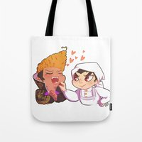 baking Tote Bags featuring Baking together by AMC Art