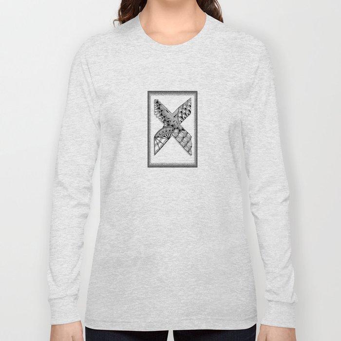 Zentangle X Monogram Alphabet Initial Long Sleeve T-shirt
