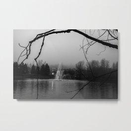 foggy grey fountain Metal Print