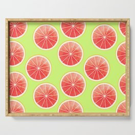 Pink Grapefruit Slices Pattern Serving Tray
