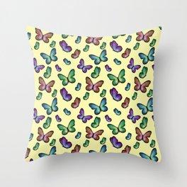 Butterflies on yellow Throw Pillow