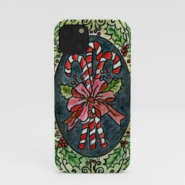 Candy Canes and Holly iPhone Case