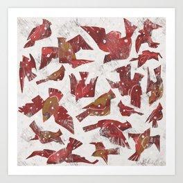 Snowy Cardinals Art Print