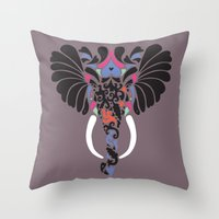 asian Throw Pillows featuring Asian Elephant by Paula McGloin
