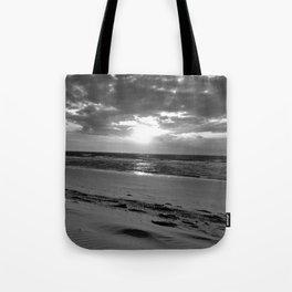 Netherlands Zeeland Ouddorp Beach Summer Late Sunset black white Tote Bag