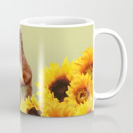 Squirrel in Sunflower Blossoms Field Coffee Mug