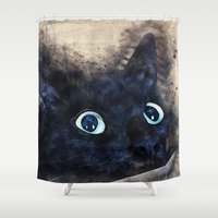 black cat Shower Curtains featuring Black cat by jbjart