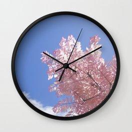 Pink Tree Blue Skies Wall Clock
