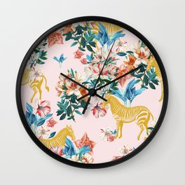 Floral & Zebras Wall Clock