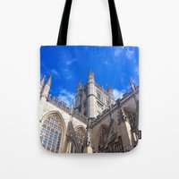 downton abbey Tote Bags featuring Bath Abbey by Casey J. Newman