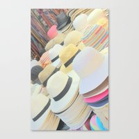 hats Canvas Prints featuring Hats by Eva Lesko