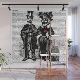 Calavera Couple | Skeleton Couple | Calaveras | Vintage Couple | Victorian Gothic | Dictionary Text Wall Mural