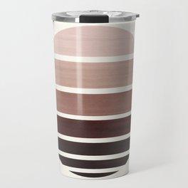 Raw Umber Mid Century Modern Minimalist Circle Round Photo Staggered Sunset Geometric Stripe Design Travel Mug