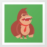 donkey kong Art Prints featuring Donkey Kong Tribute by Joseph Le