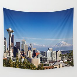 Seattle Overlook with Mt Rainier Wall Tapestry