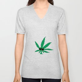 "Cartoon Weed Leaf Design"" Marijuana leaf Leaf Unisex V-Neck"