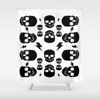 skulls Shower Curtains featuring skullS by HEADBANGPARTY