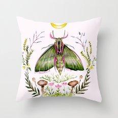 Pink Moth Throw Pillow
