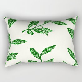 Green Tea Leaf Block Print Rectangular Pillow