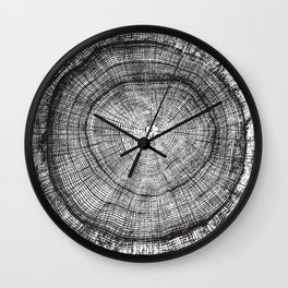 Detailed black and white reclaimed wood tree with circle growth rings pattern Wall Clock