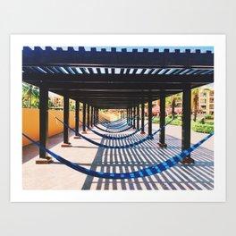 the beach and shadows Playa del Carmen Art Print