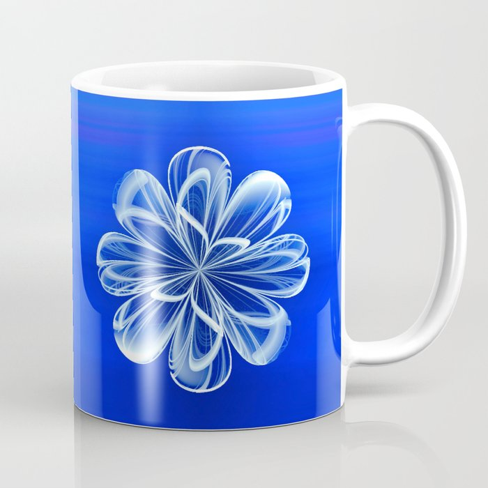 White Bloom on Blue Coffee Mug
